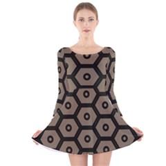 Black Bee Hive Texture Long Sleeve Velvet Skater Dress