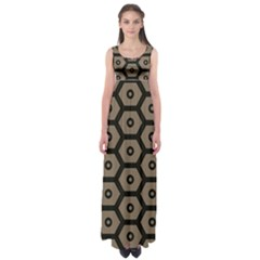 Black Bee Hive Texture Empire Waist Maxi Dress