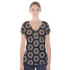 Black Bee Hive Texture Short Sleeve Front Detail Top
