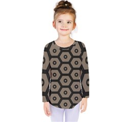 Black Bee Hive Texture Kids  Long Sleeve Tee