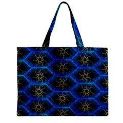 Blue Bee Hive Zipper Mini Tote Bag