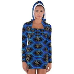 Blue Bee Hive Women s Long Sleeve Hooded T Shirt