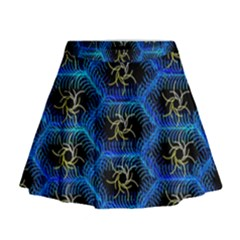 Blue Bee Hive Mini Flare Skirt