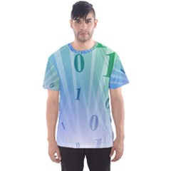 Blue Binary Background Binary World Binary Flow Hand Men s Sport Mesh Tee