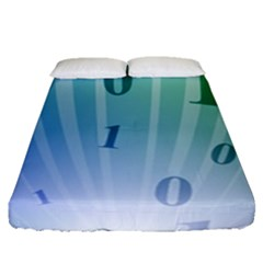Blue Binary Background Binary World Binary Flow Hand Fitted Sheet (queen Size)