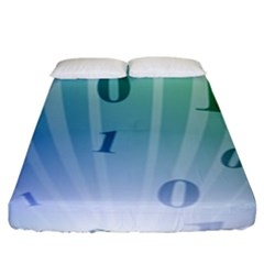 Blue Binary Background Binary World Binary Flow Hand Fitted Sheet (king Size)