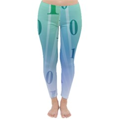 Blue Binary Background Binary World Binary Flow Hand Classic Winter Leggings