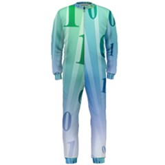Blue Binary Background Binary World Binary Flow Hand Onepiece Jumpsuit (men)