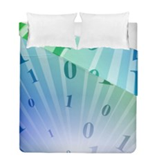 Blue Binary Background Binary World Binary Flow Hand Duvet Cover Double Side (full/ Double Size)