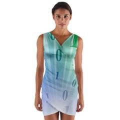 Blue Binary Background Binary World Binary Flow Hand Wrap Front Bodycon Dress