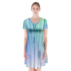 Blue Binary Background Binary World Binary Flow Hand Short Sleeve V Neck Flare Dress