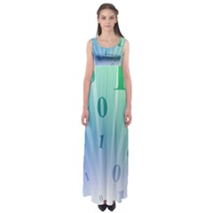 Blue Binary Background Binary World Binary Flow Hand Empire Waist Maxi Dress