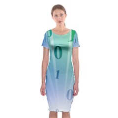 Blue Binary Background Binary World Binary Flow Hand Classic Short Sleeve Midi Dress