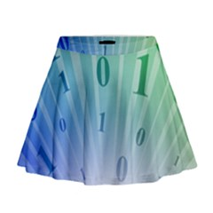 Blue Binary Background Binary World Binary Flow Hand Mini Flare Skirt