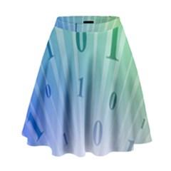 Blue Binary Background Binary World Binary Flow Hand High Waist Skirt