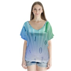 Blue Binary Background Binary World Binary Flow Hand Flutter Sleeve Top
