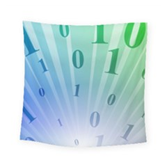 Blue Binary Background Binary World Binary Flow Hand Square Tapestry (small)