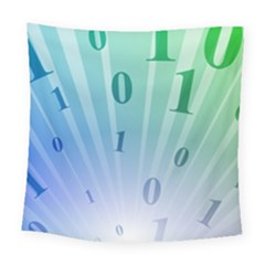 Blue Binary Background Binary World Binary Flow Hand Square Tapestry (large)