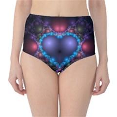 Blue Heart High Waist Bikini Bottoms