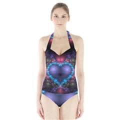Blue Heart Halter Swimsuit