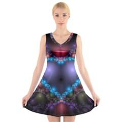 Blue Heart V Neck Sleeveless Skater Dress