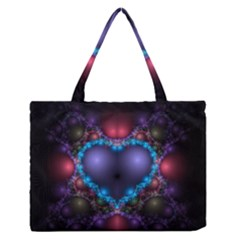 Blue Heart Medium Zipper Tote Bag