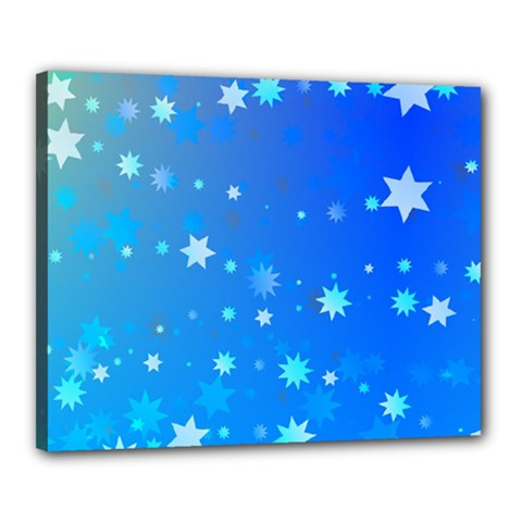 Blue Hot Pattern Blue Star Background Canvas 20  X 16
