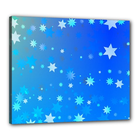 Blue Hot Pattern Blue Star Background Canvas 24  X 20