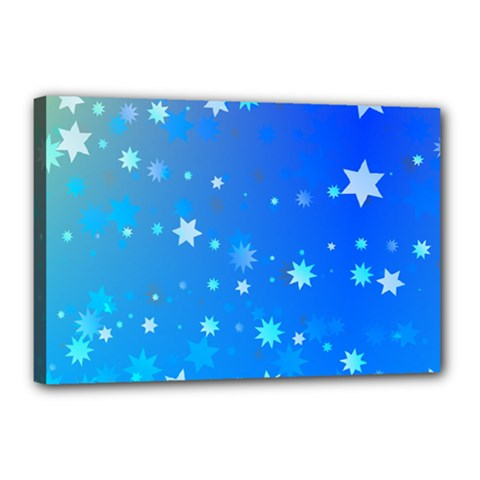 Blue Hot Pattern Blue Star Background Canvas 18  X 12