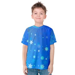 Blue Hot Pattern Blue Star Background Kids  Cotton Tee