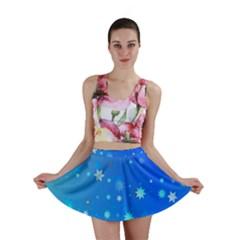 Blue Hot Pattern Blue Star Background Mini Skirt