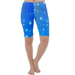 Blue Hot Pattern Blue Star Background Cropped Leggings