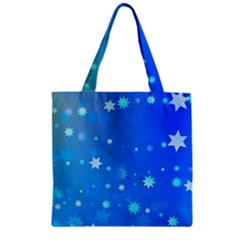 Blue Hot Pattern Blue Star Background Zipper Grocery Tote Bag