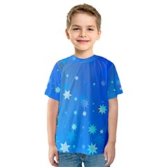 Blue Hot Pattern Blue Star Background Kids  Sport Mesh Tee