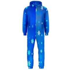 Blue Hot Pattern Blue Star Background Hooded Jumpsuit (men)