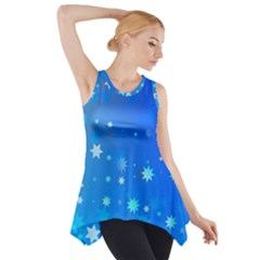 Blue Hot Pattern Blue Star Background Side Drop Tank Tunic