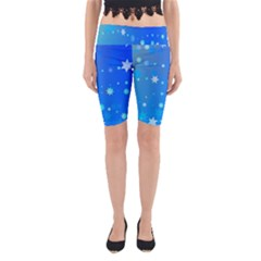 Blue Hot Pattern Blue Star Background Yoga Cropped Leggings