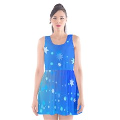 Blue Hot Pattern Blue Star Background Scoop Neck Skater Dress