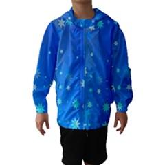 Blue Hot Pattern Blue Star Background Hooded Wind Breaker (Kids)