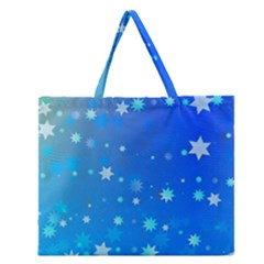 Blue Hot Pattern Blue Star Background Zipper Large Tote Bag