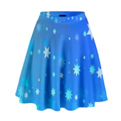 Blue Hot Pattern Blue Star Background High Waist Skirt