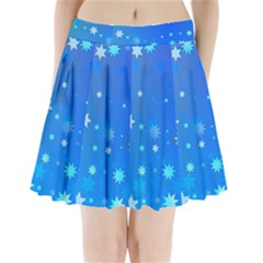 Blue Hot Pattern Blue Star Background Pleated Mini Skirt