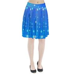 Blue Hot Pattern Blue Star Background Pleated Skirt