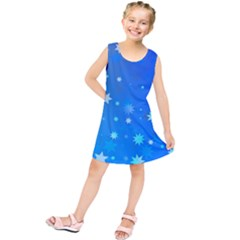 Blue Hot Pattern Blue Star Background Kids  Tunic Dress