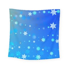 Blue Hot Pattern Blue Star Background Square Tapestry (small)
