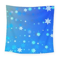 Blue Hot Pattern Blue Star Background Square Tapestry (large)