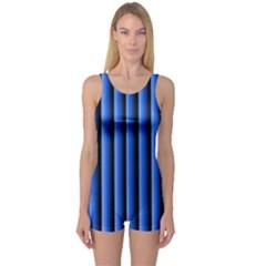 Blue Lines Background One Piece Boyleg Swimsuit