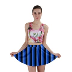Blue Lines Background Mini Skirt