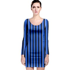 Blue Lines Background Long Sleeve Bodycon Dress