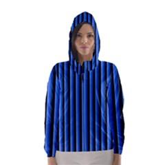 Blue Lines Background Hooded Wind Breaker (women)